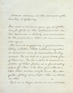 One of the five extant copies of the Gettysburg Address. Courtesy of the White House Historical Association.jpg