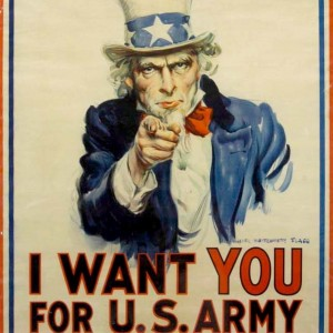 "Uncle Sam pointing a finger with the words ""I want you for US army"""