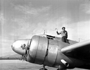 Amelia Earhart waves from the Electra (AP Photo, file)